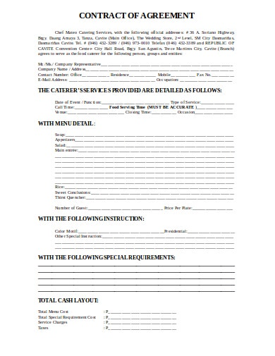 chef catering contract agreement template