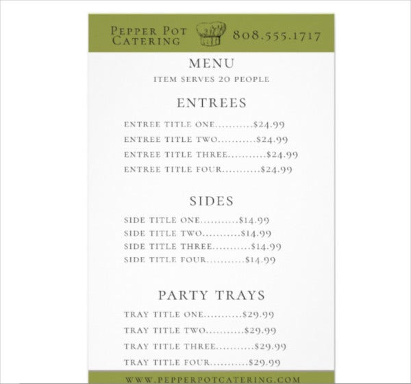 chef hat catering menu flyer
