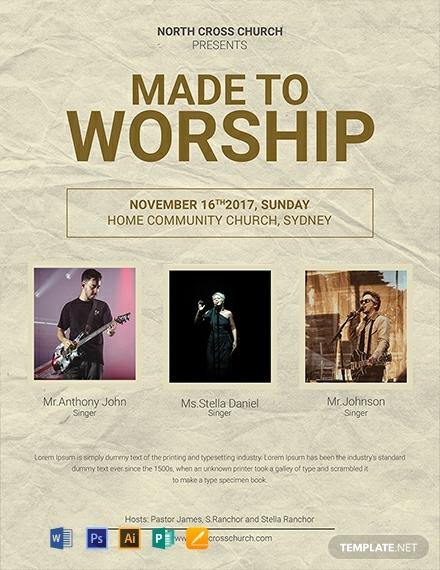 church worship event flyer layout