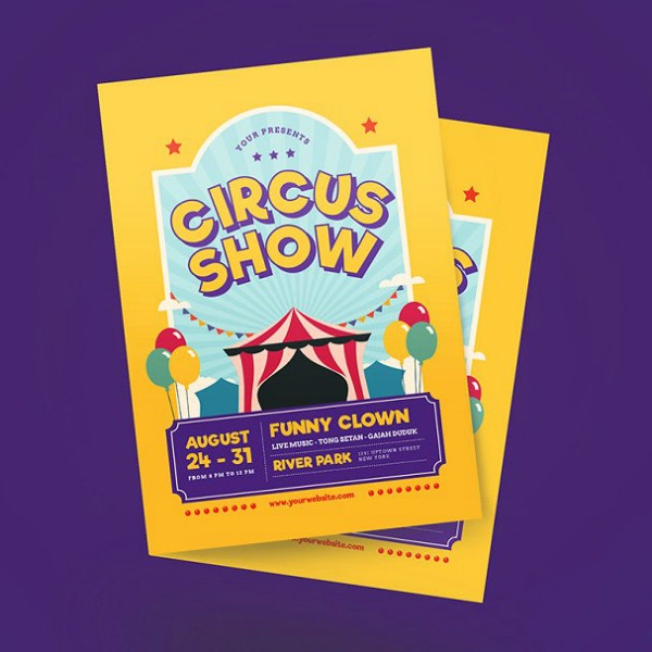 circus carnival show flyer template