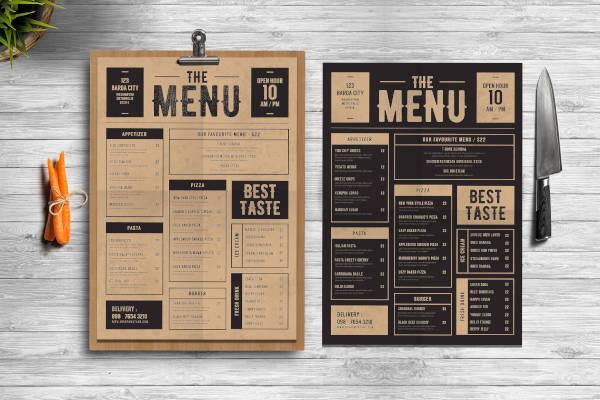 classic food menu example