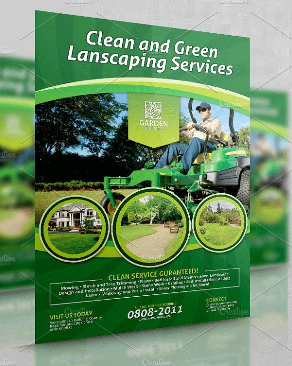 clean green landscaping flyer sample