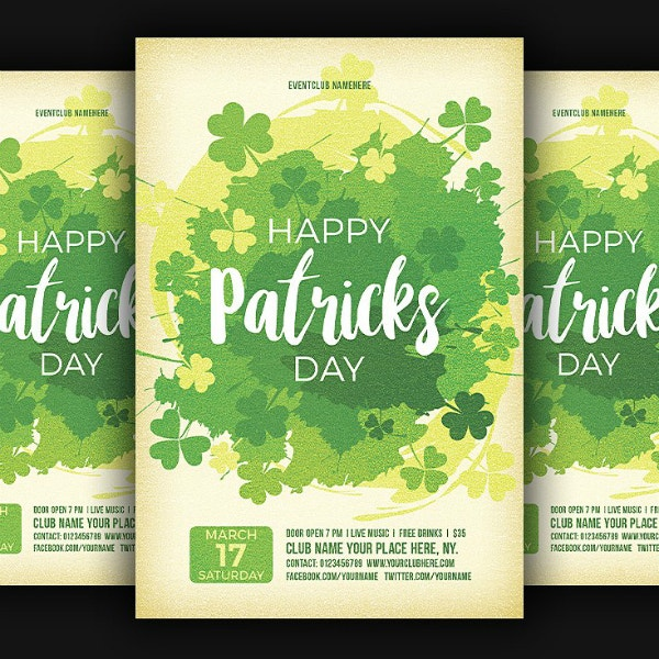 clovers happy patricks day flyer format