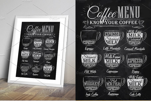 coffee chalkboard menu