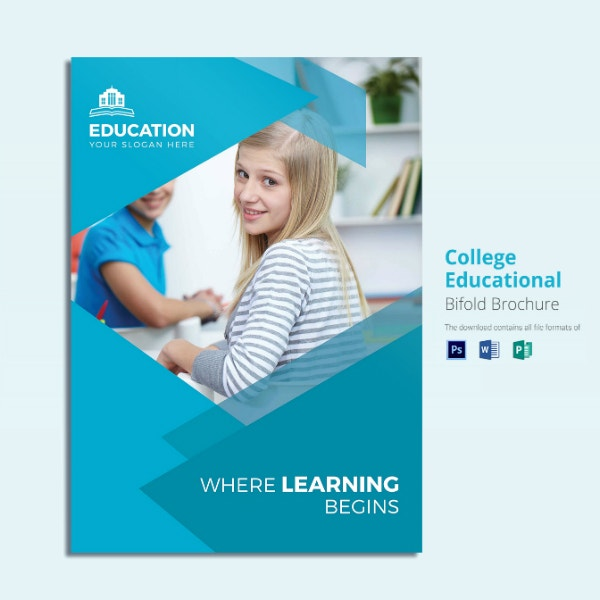 college educational bi fold brochure sample