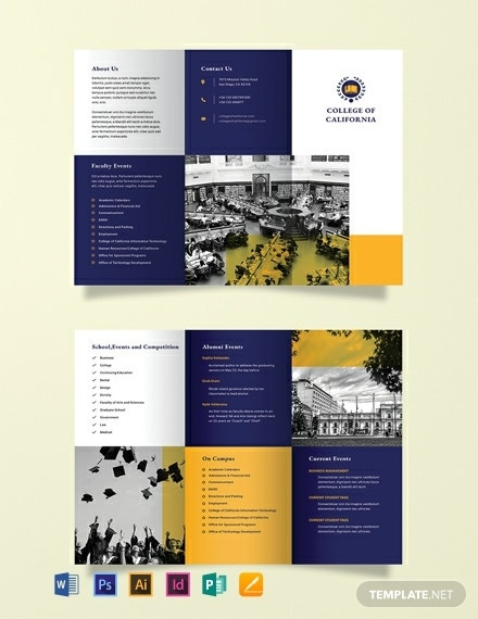 college event tri fold brochure format