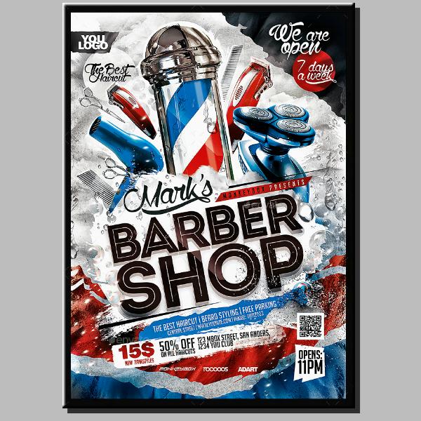 colorful barber stripes flyer format