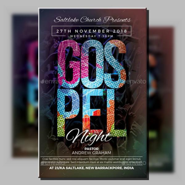 colorful gospel church flyer sample