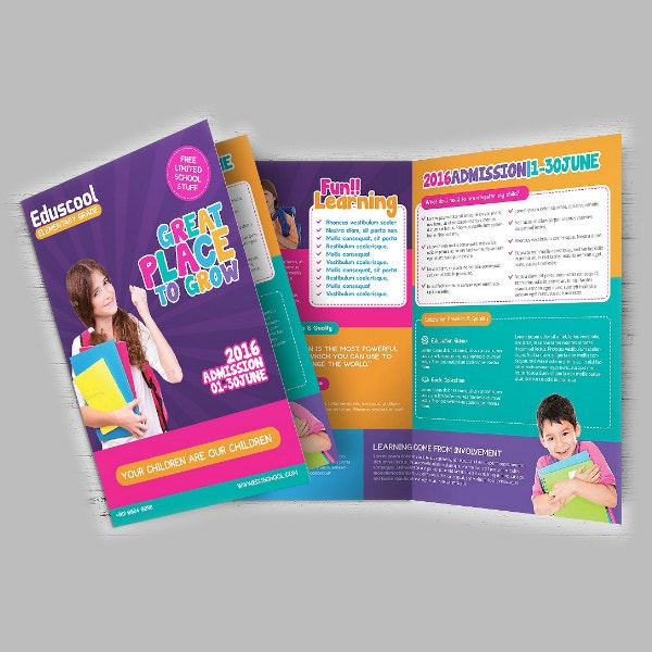 colorful school education brochure layout
