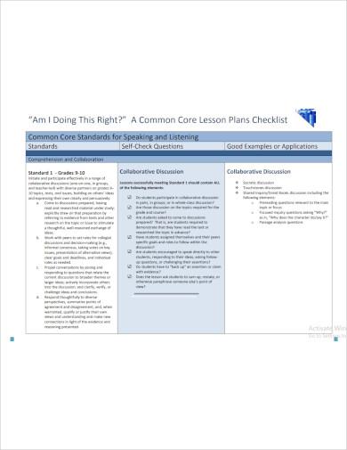 common core lesson plans checklist