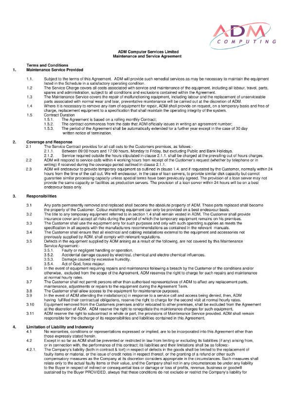 computer maintenance agreement 1