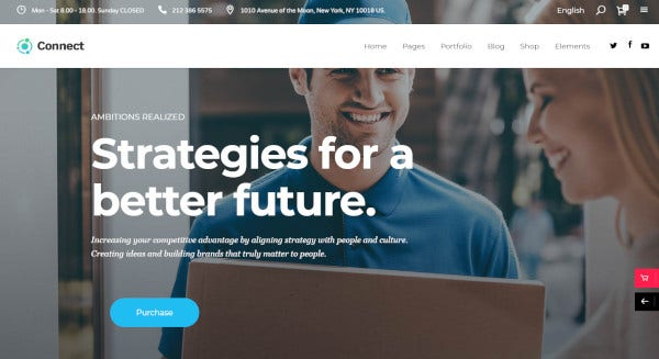 connect – custom wordpress theme