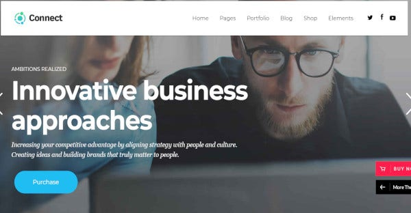 connect advanced startup wordpress theme