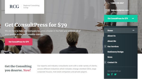consultpress – 6 home pages wordpress theme