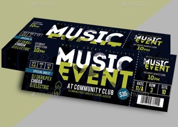 cool music event ticket template