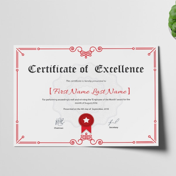 corporate business excellence certificate design