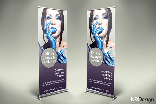 cosmetic roll up banner