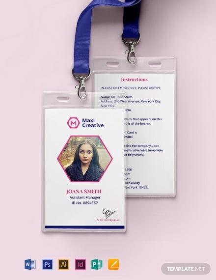 creative agency id card template