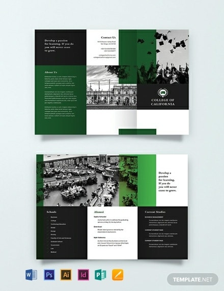 creative college tri fold brochure example