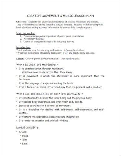 creative movement music lesson plan