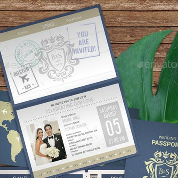 creative passport wedding invitation example