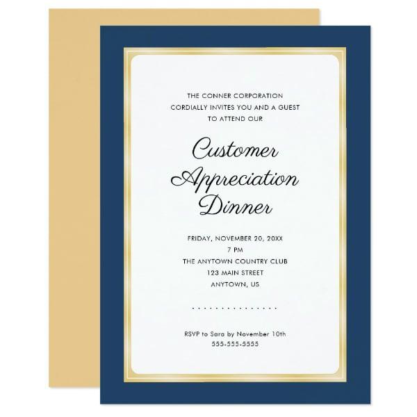 Customer Appreciation Dinner Invitation Example