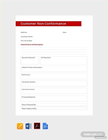 customer non conformance report template