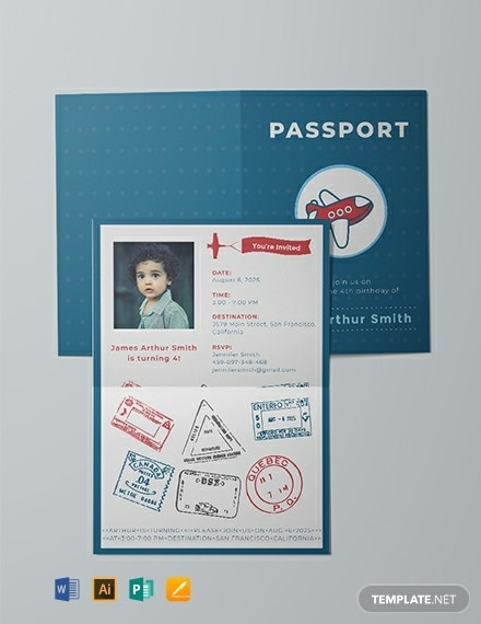 cute passport party invitation layout