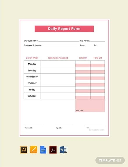 daily report template 1