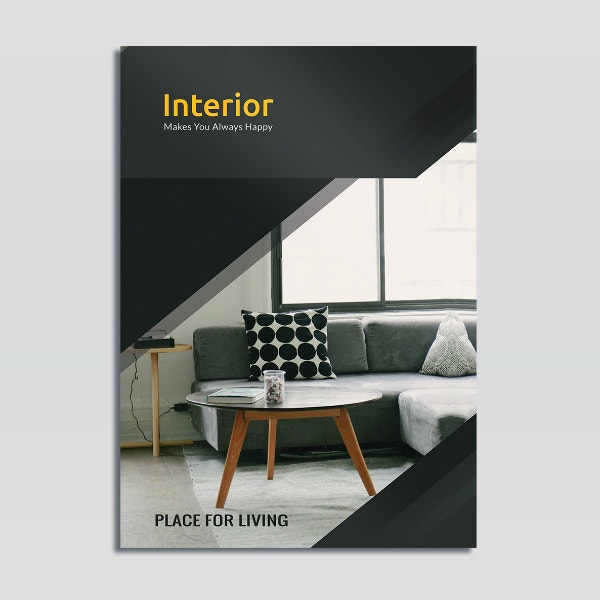 dark interior bi fold brochure layout