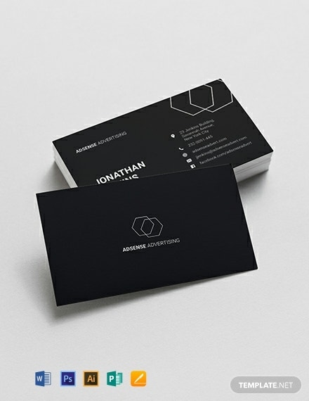 dark minimalist business card format