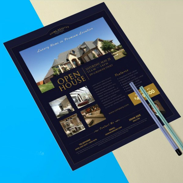 dark real estate flyer template