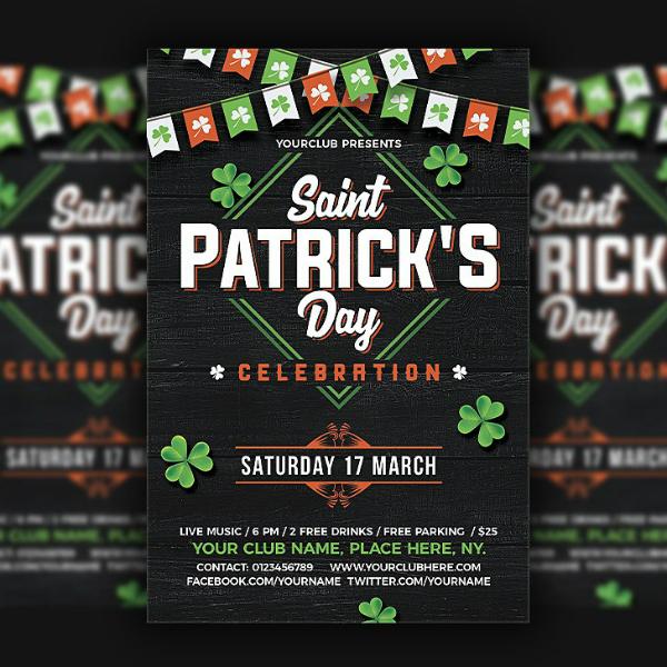 dark saint patricks day flyer layout