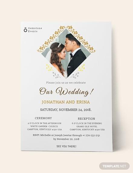 diamond frame photo wedding invitation