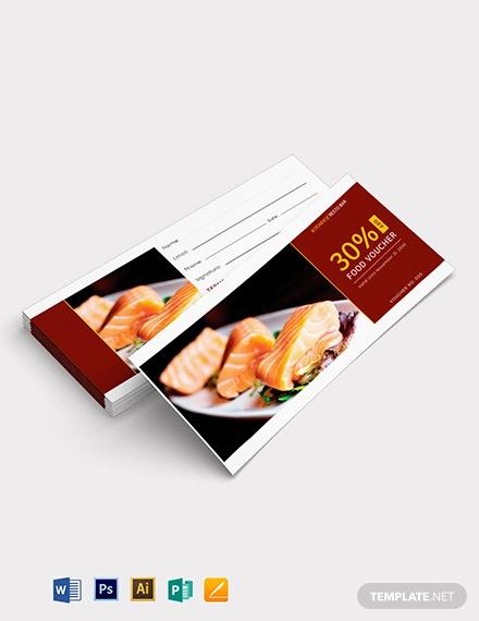 dinner food voucher template