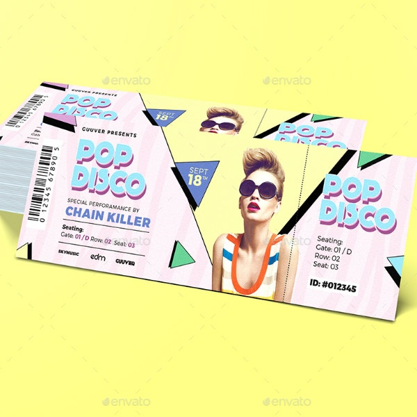 Disco Music Event Ticket Layout