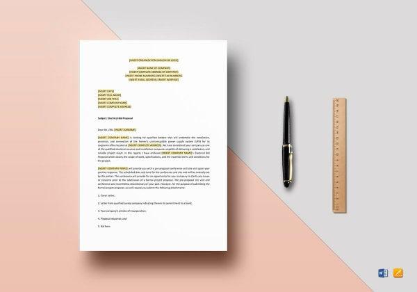 electrical bid proposal template mockup