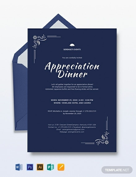 elegant appreciation dinner invitation template