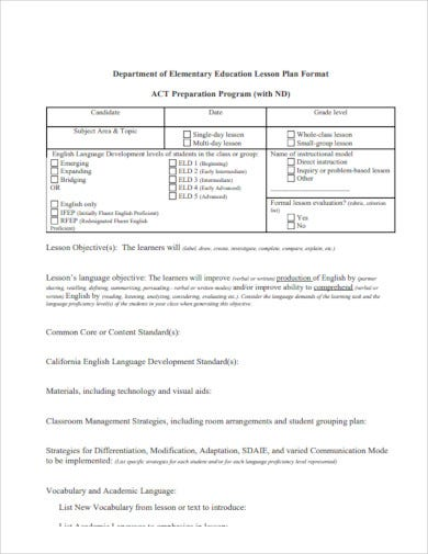 elementary education lesson plan format