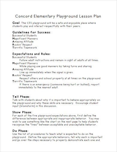elementary playground lesson plan