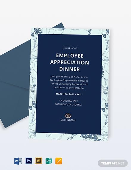 employee appreciation dinner invitation sample