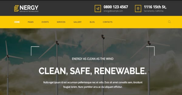 energy dynamic wordpress theme