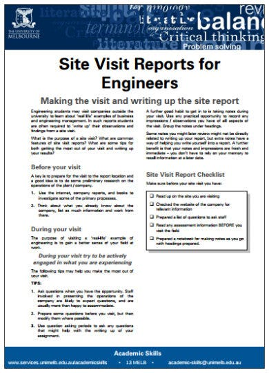 engineer site visit report