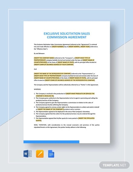 exclusive solicitation sales commission agreement template1