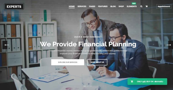 Experts- WordPress Theme For Financial Advisory