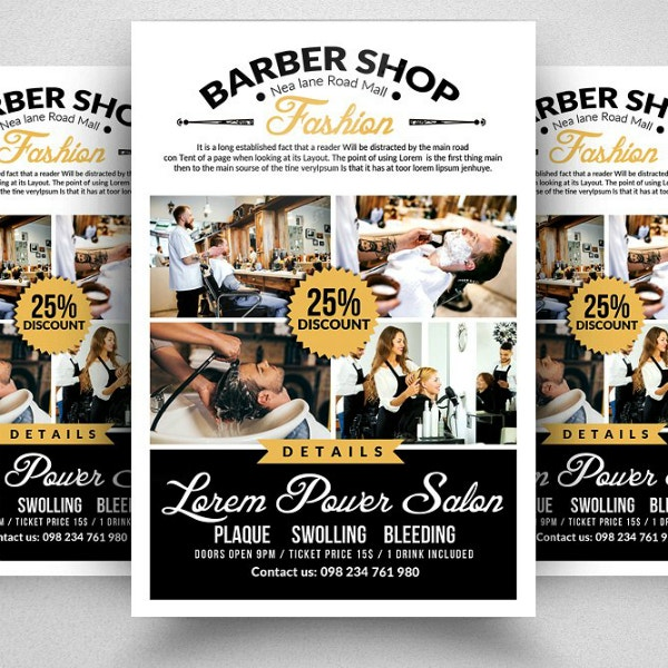 fashion barber shop flyer layout