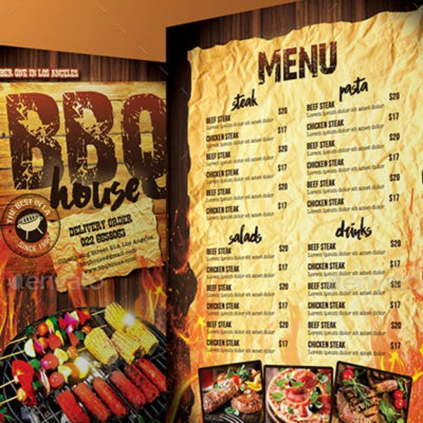 fiery barbecue house menu example