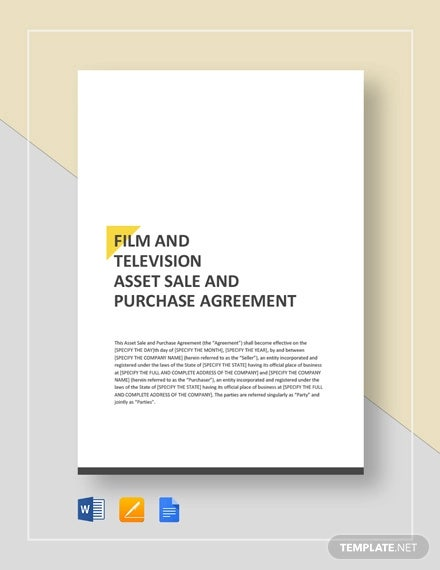 film television asset sale and purchase agreement template