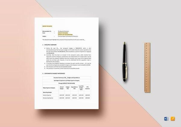 financial report to board of directors mockup