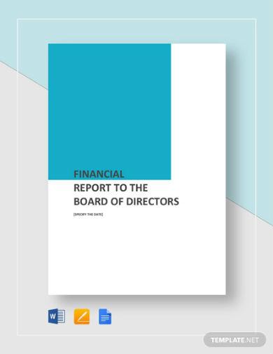 financial report to board of directors